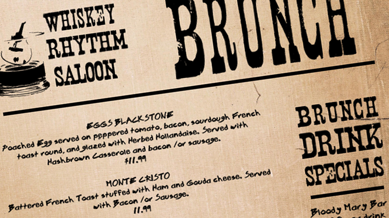 whiskey saloon brunch menu design