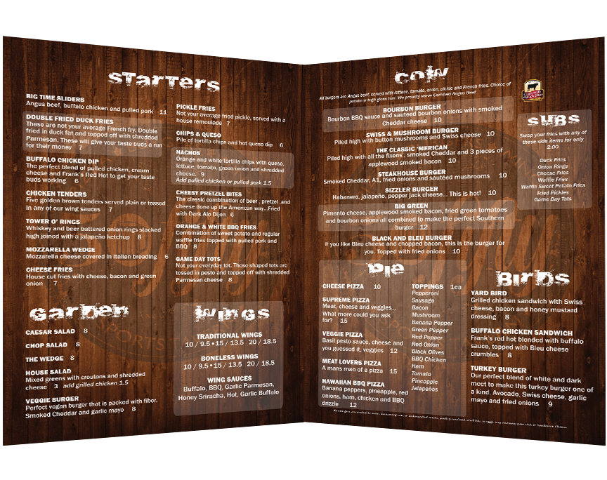 50 Fifty menu