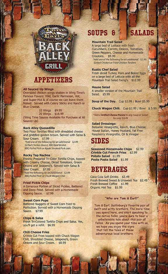 Back Alley menu