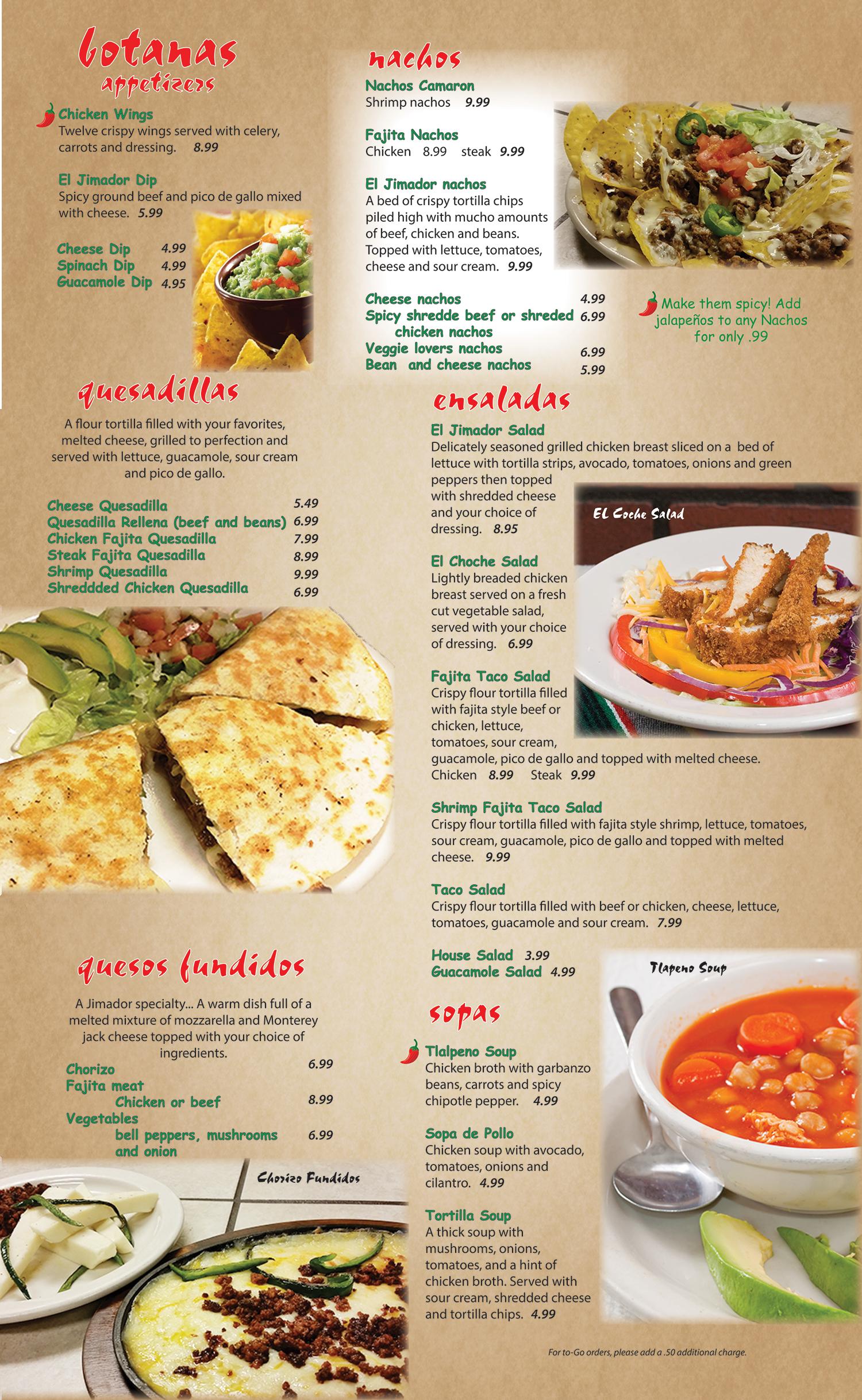 El Jimador menu