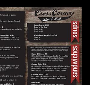 Cross Corner Bar and Grill menu