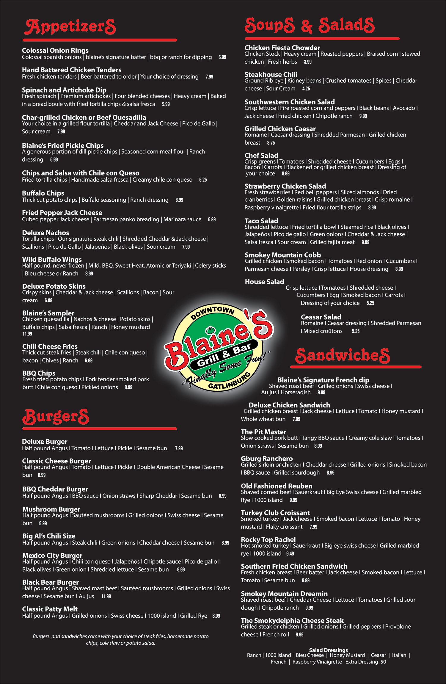 Blaine's Bar & Grill menu