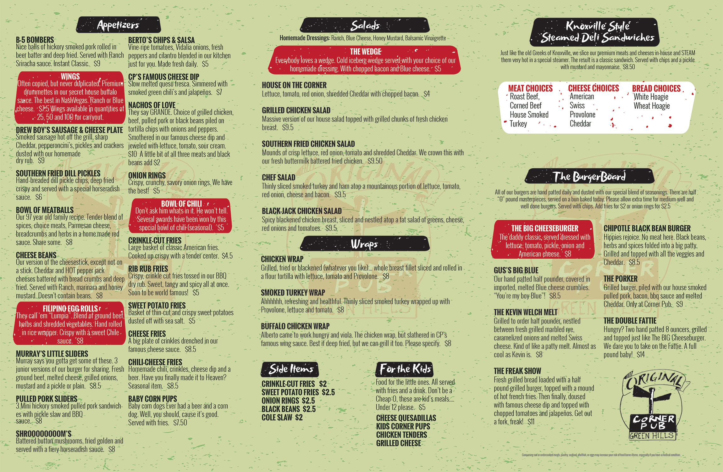 Corner Pub menu