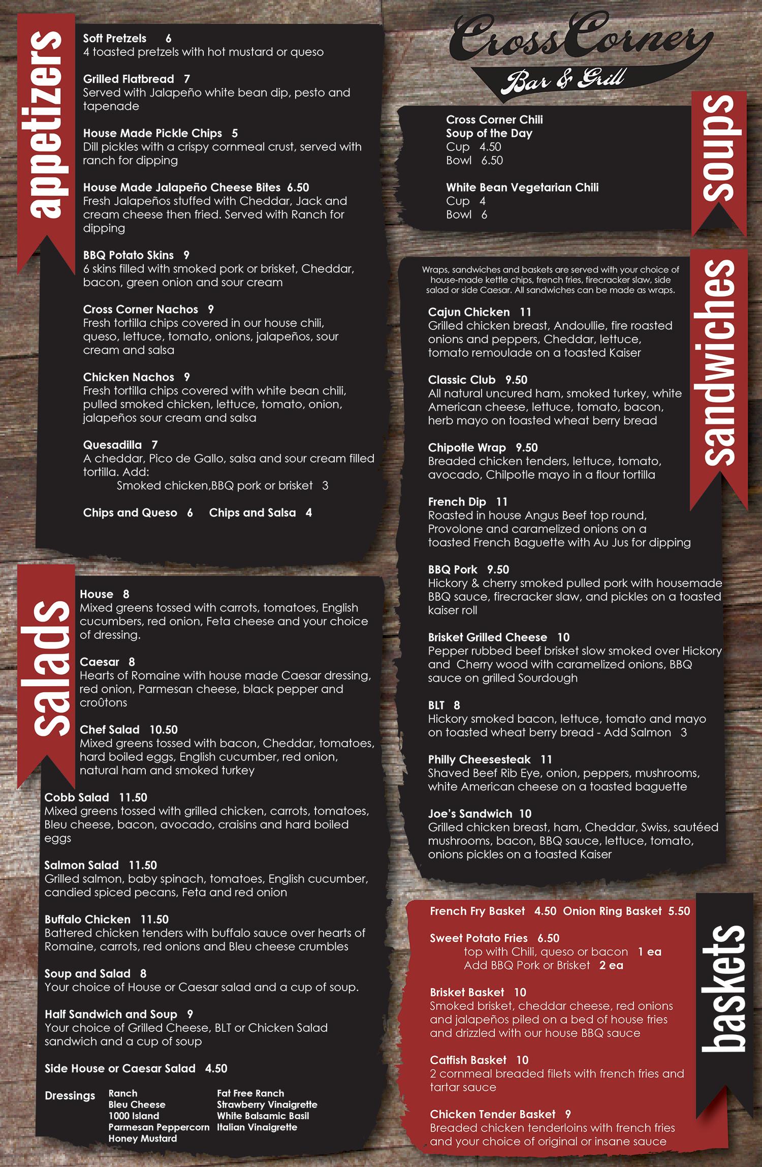 Cross Corner menu