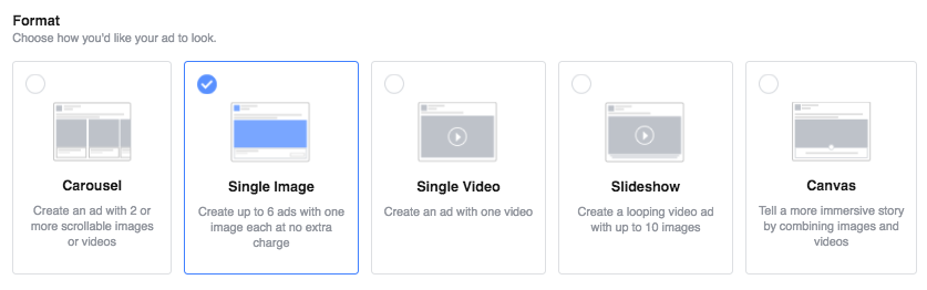 format for ad creation on Facebook